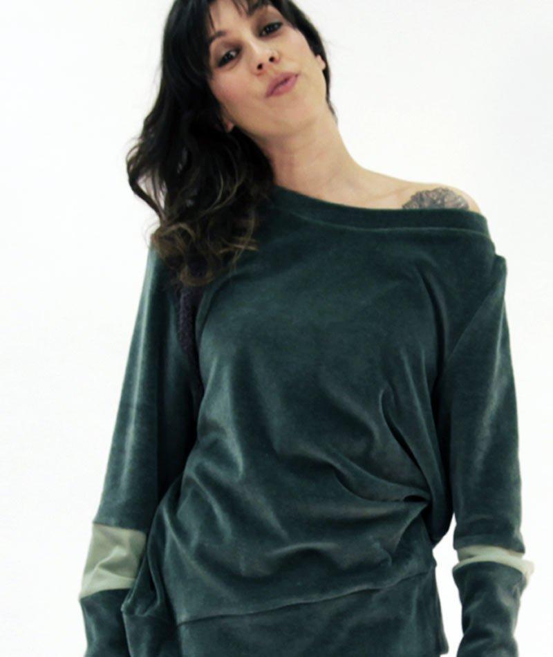 Jersey de terciopelo de algodón ecológico fabricado en Barcelona por Art and Seams para The Goood Shop