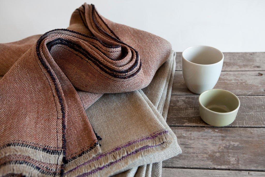 manta natural lino teixidors