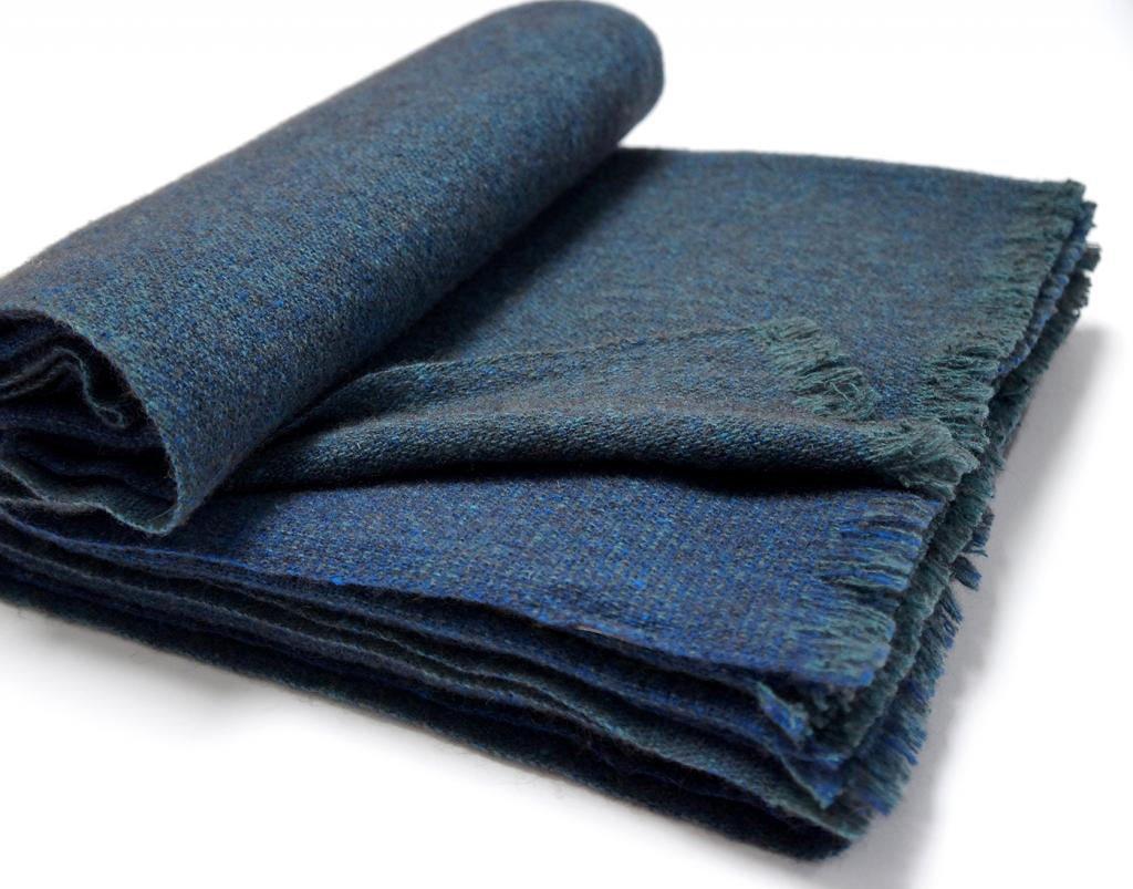 manta gobi lana teixidors azul
