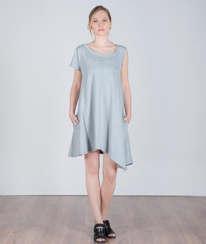 vestido asimétrico gris sister dew