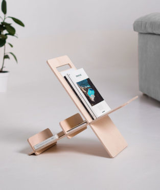 minimalist magazine rack made of birch wood
