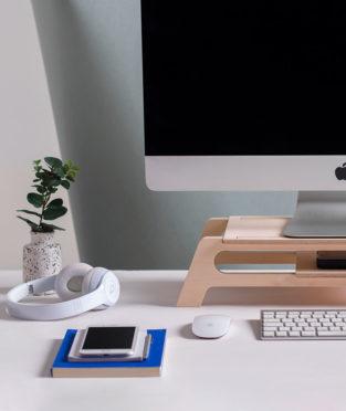 soporte de pantalla de ordenador de madera sostenible