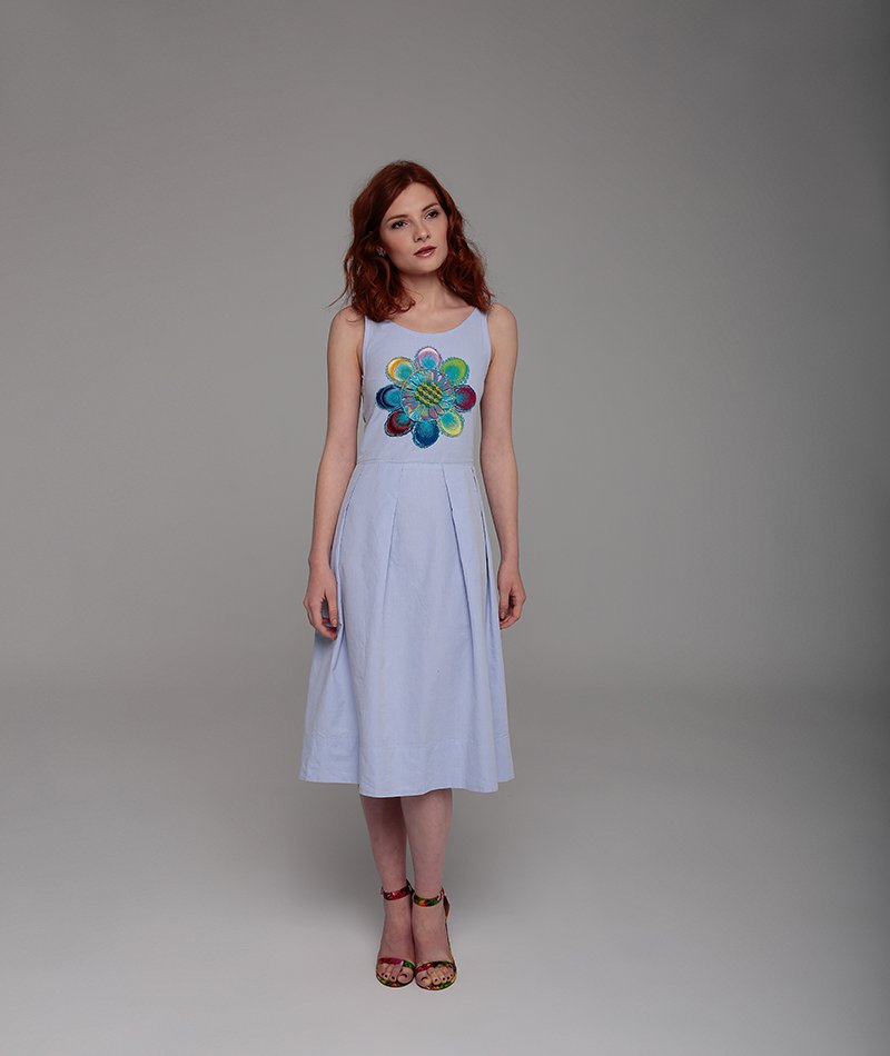 vestido azul algodón mammisi