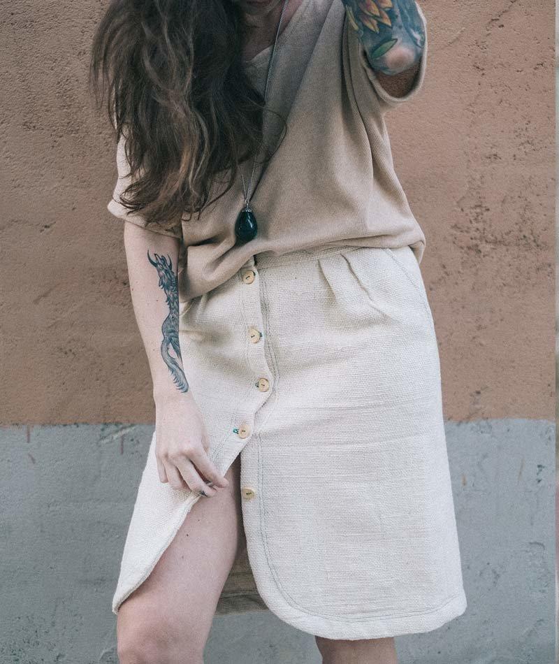 falda algodón orgánico botones madera