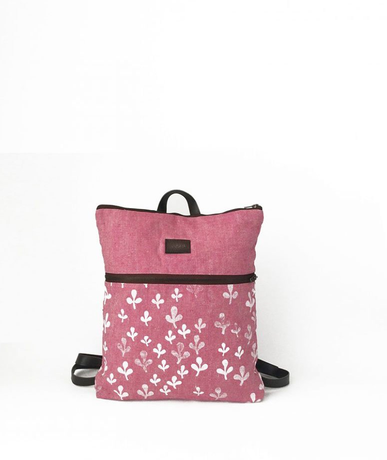 mochila rosa sostenible vegana