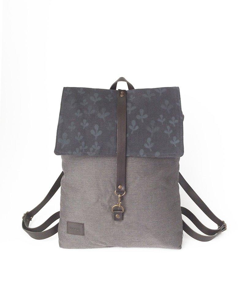 mochila gris algodón orgánico