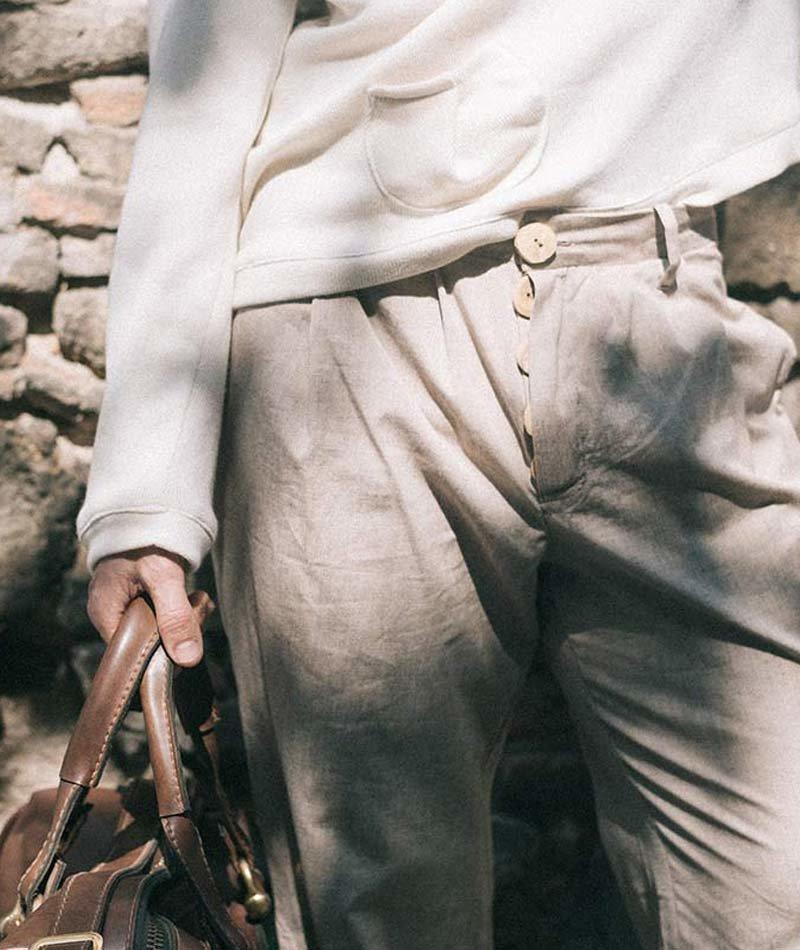 pantalón de algodón beige hombre ecológico