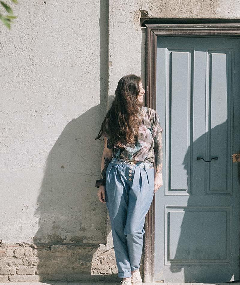 pantalón azul algodón orgánico mujer