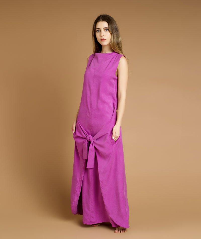 vestido largo rosa de tencel