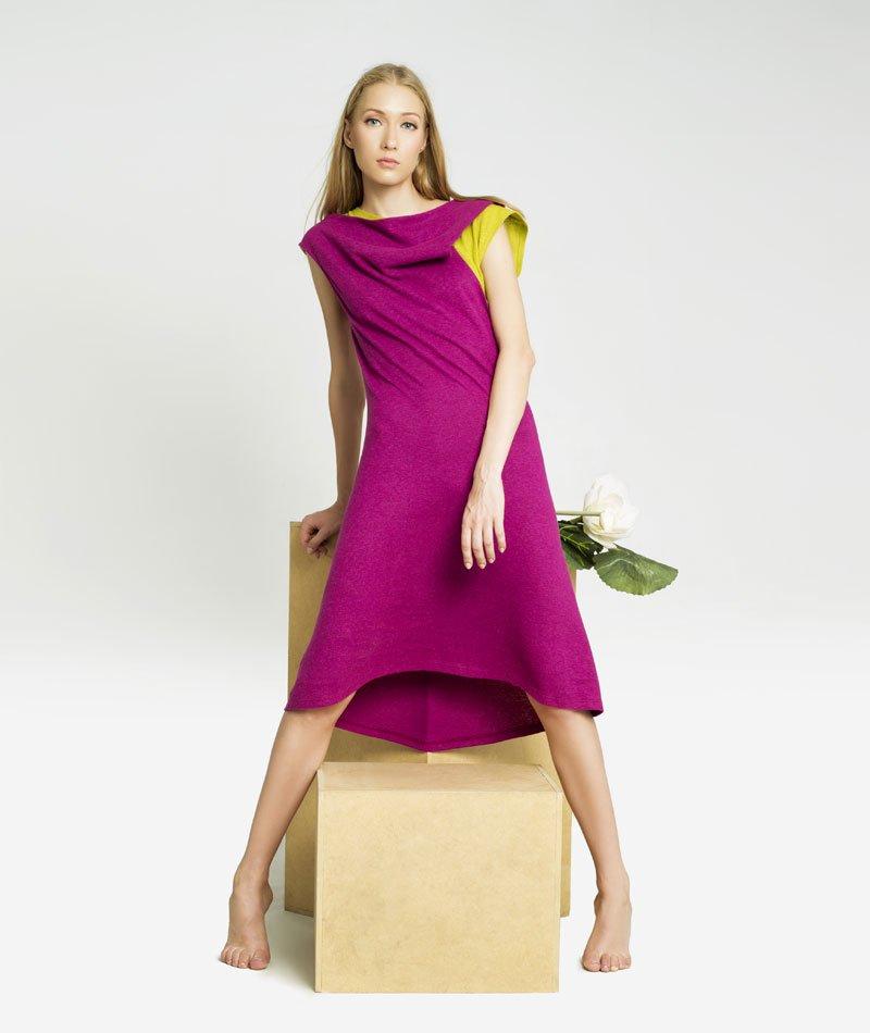 vestido rosa de cáñamo y algodón