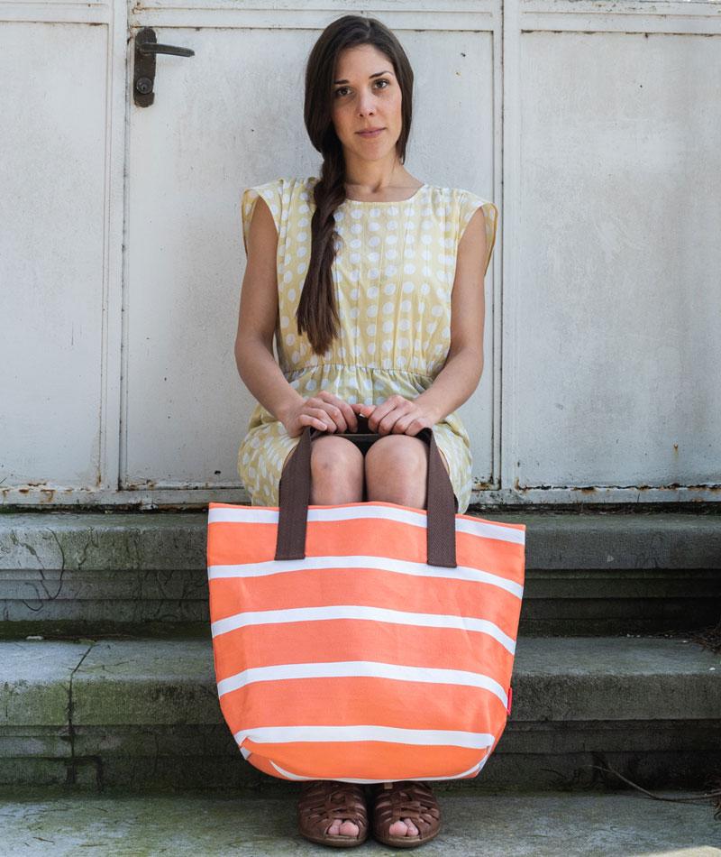 Bolsa de playa de rayas naranja