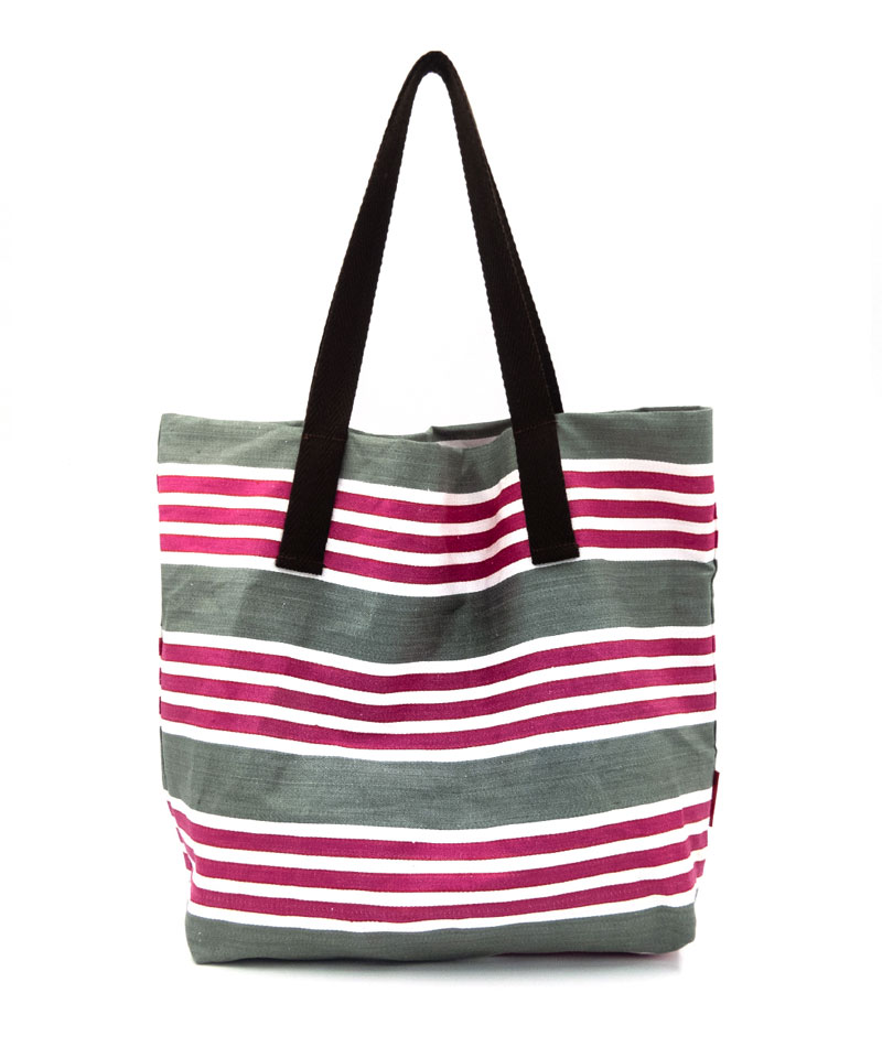 Bolsa de playa a rayas de algodón