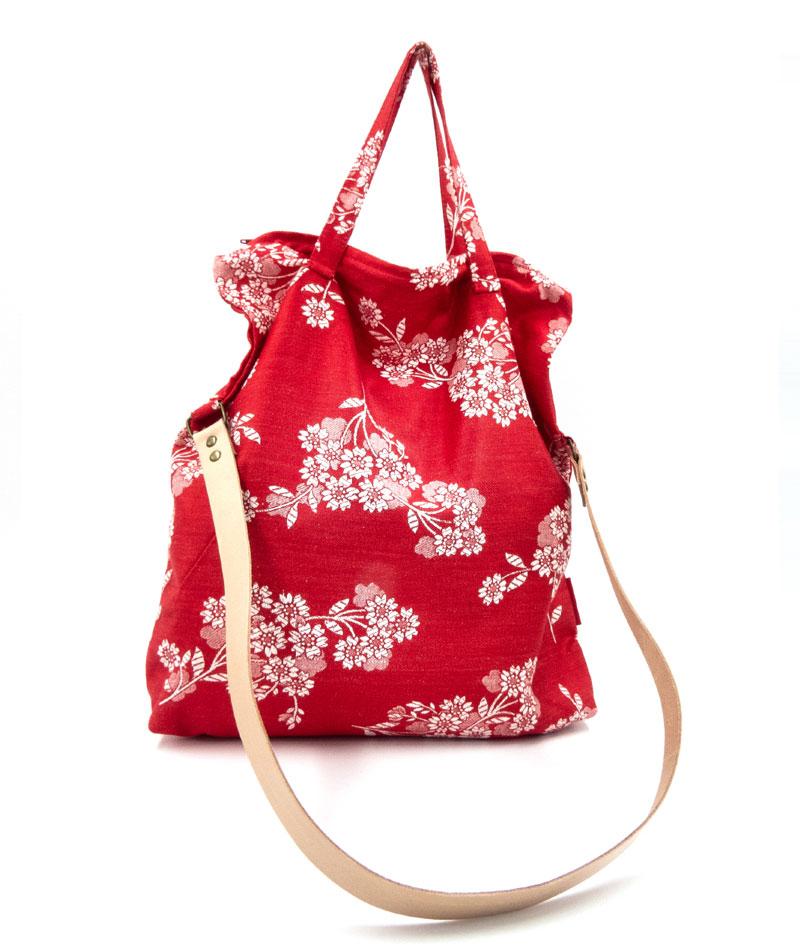 Bandolera tote bag tela colchonera roja floreada vintage