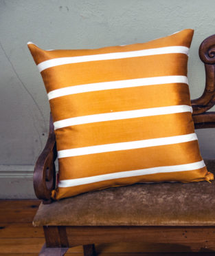 Cushion vintage fabric mustard stripes upcycling
