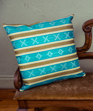 Striped cushion vintage damask fabric circular economy