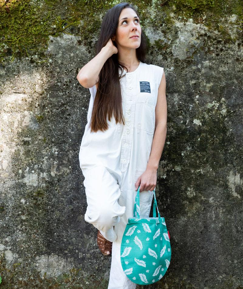 Tote bag peueña tela algodón jaquard vintageg
