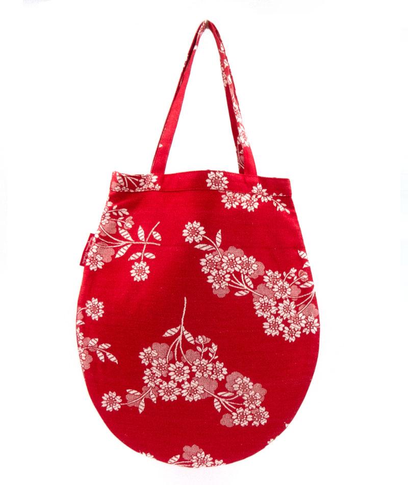 Tote bag pequeña roja tela vintage colchonera upcycling
