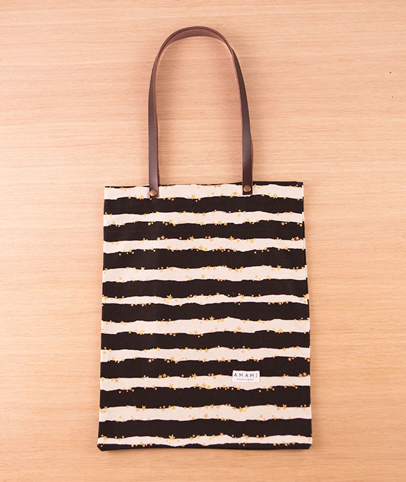 tote bag algodón y lino a rayas hecha a mano en Bilbao