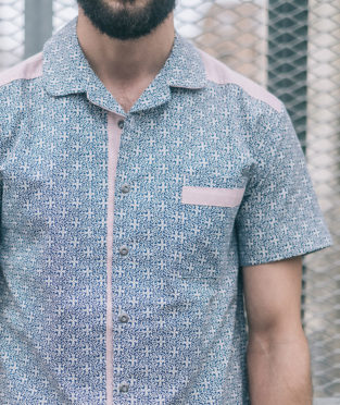 blue organic cotton shirt mens sustainable fashion art and seams