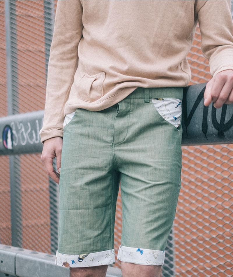 pantalón corto de hombre de algodón ecológico