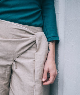 pantalon veraniego lazo envolvente algodón orgánico y de comercio justo