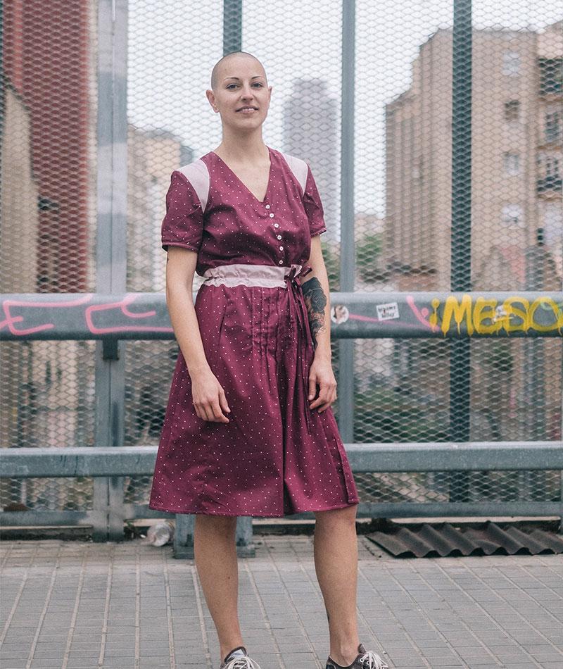 vestido algodón orgánico lunares granate