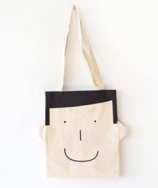 tote bag de algodón con la cara sonriente de Sam