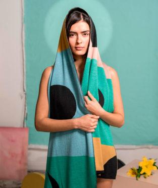 bufanda de lana merino reversible