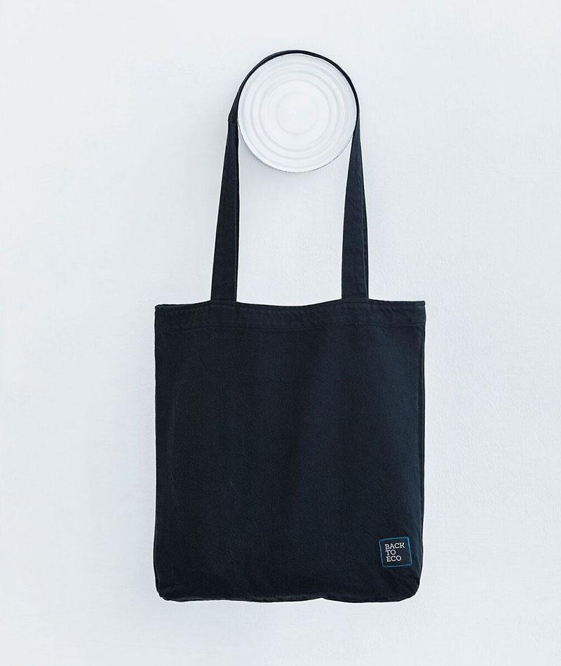 bolsa tote negra tejido reciclado
