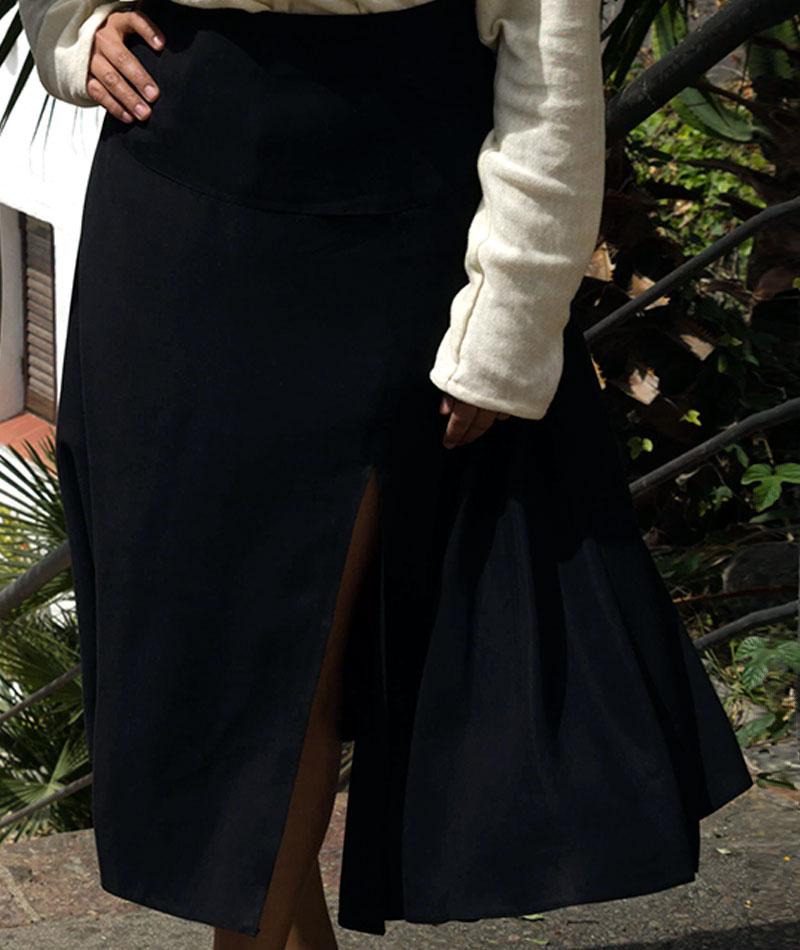 falda de tencel negra