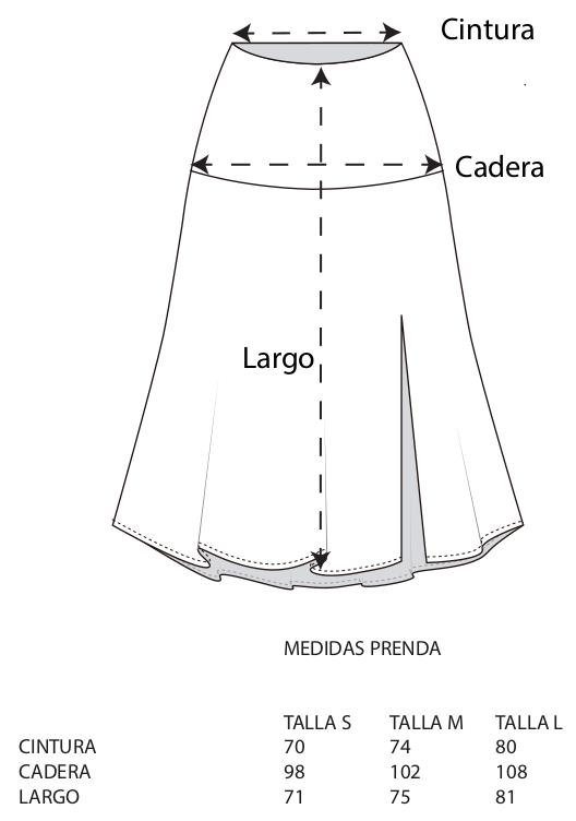Guia de tallas falda lagarto