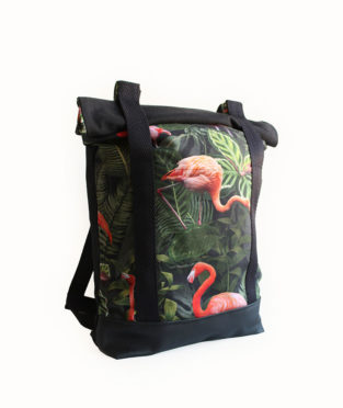 Convertible Flamingo Tote Backpack 2x1