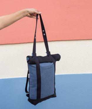 Convertible Indigo Tote Backpack 2x1