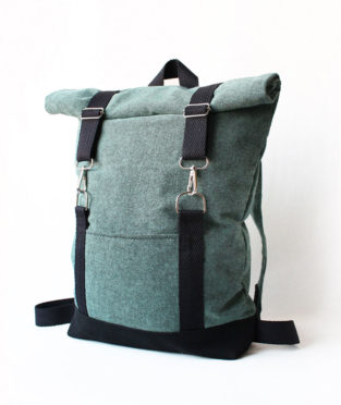 Roll top turquoise black backpack