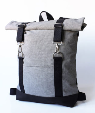 Roll top backpack black and white