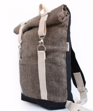 Roll top brown jute white backpack