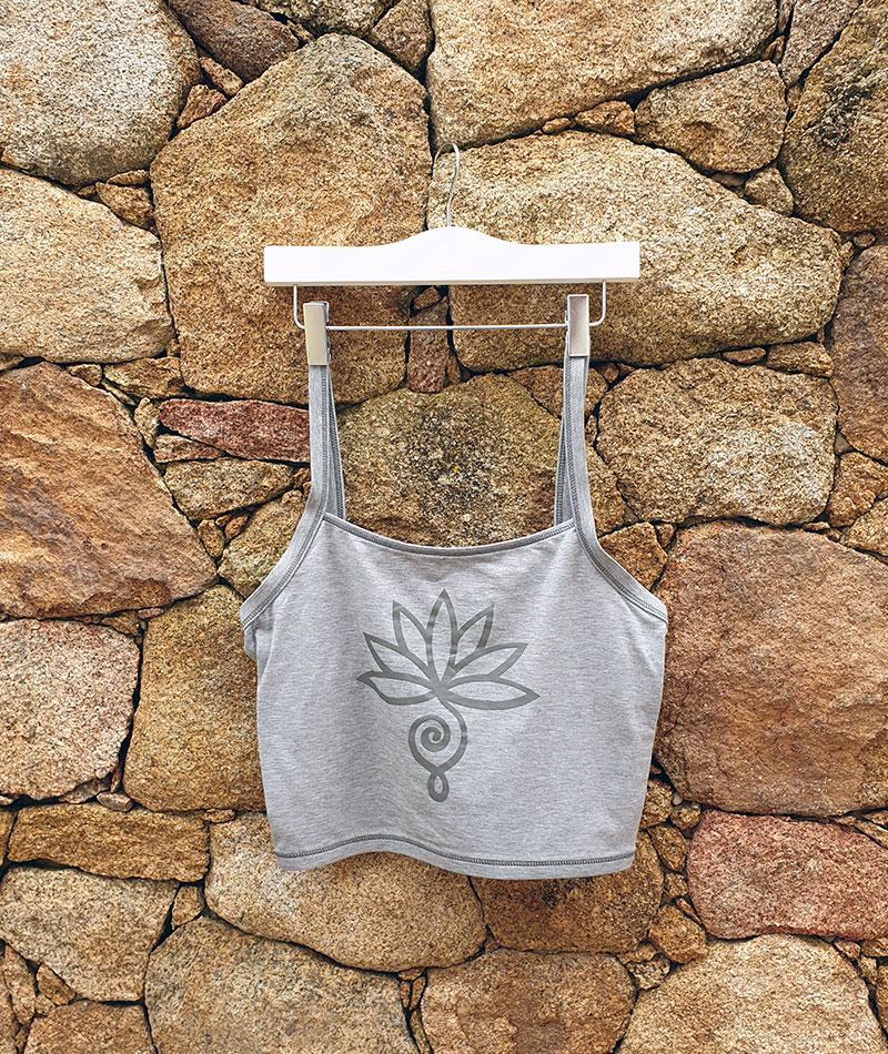 top de yoga gris algodón seacell
