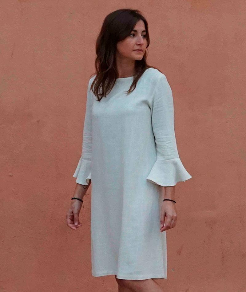 vestido blanco de lino y viscosa