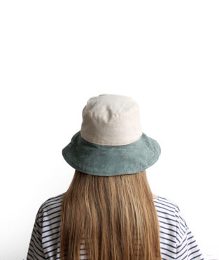 Handmade 100% cotton bucket hat white and green canvas