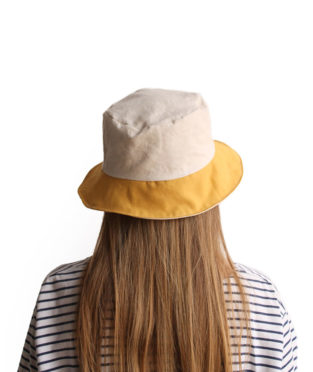 Handmade 100% cotton bucket hat white and yellow with a wide brim