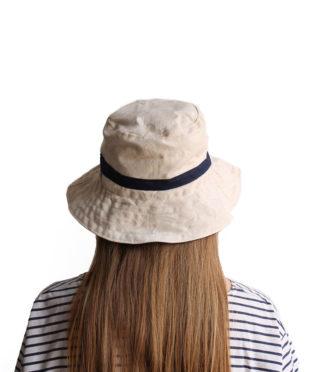 Handmade 100% cotton bucket hat white with a wide brim