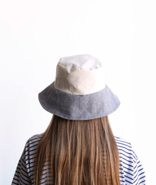 Handmade bucket hat white and light blue canvas