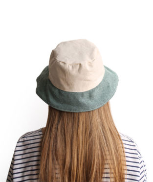 Handmade 100% cotton bucket hat white and green canvas narrow brim