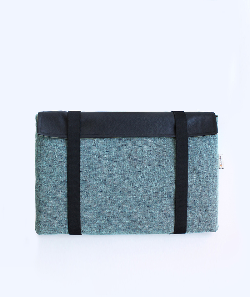 Green Laptop Sleeve Case with black straps