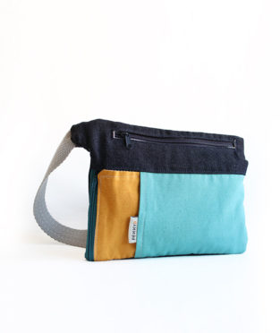 Sonar yellow blue bum bag with water bottle holder