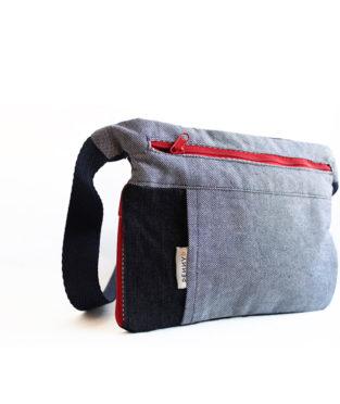 Blue denim bum bag with water bottle holder