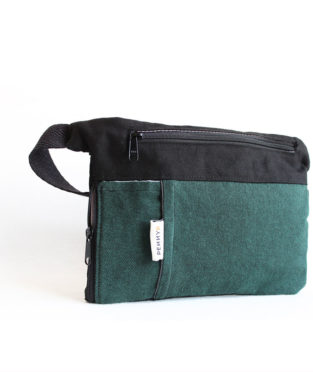 Forest green bum bag with water bottle holder