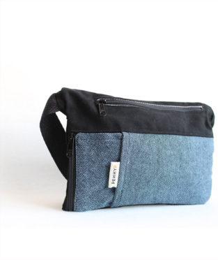 Indigo blue hip bag with water bottle holder