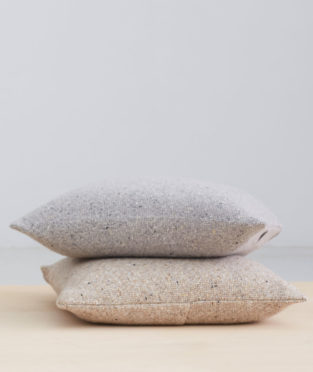 Teixidors lambswool and cashmere camel cushion Granito