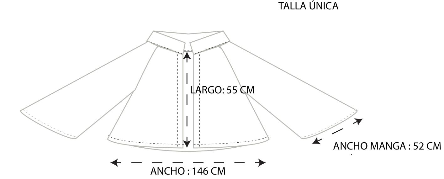 guía de tallas chaqueta mangas murciélago